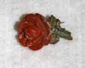 Vintage Bakelite Rust Rose Pin