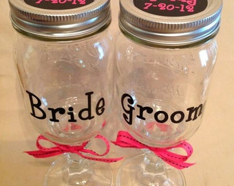 Custom Hillbilly REDNECK WINE GLASS Set of Two for Bride & Groom with Wedding Date