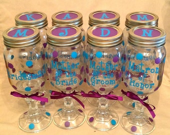 Personalized REDNECK WINE GLASS Mason Jar for Bride Bridesmaids Bridal Wedding Bachelorette Party