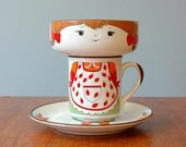 Retro Stacking Girl Cup Bowl Plate Set - RESERVED