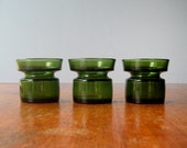 Vintage Dansk Forest Green Glass Candle Holders - RESERVED