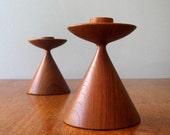 Danish Modern Turned Teak Wood Candle Holders