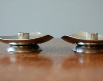 Mid Century Selandia Danish Modern Stainless Candle Holders