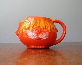 Vintage 60's Orange Pacific Stoneware Funky Dog Mug
