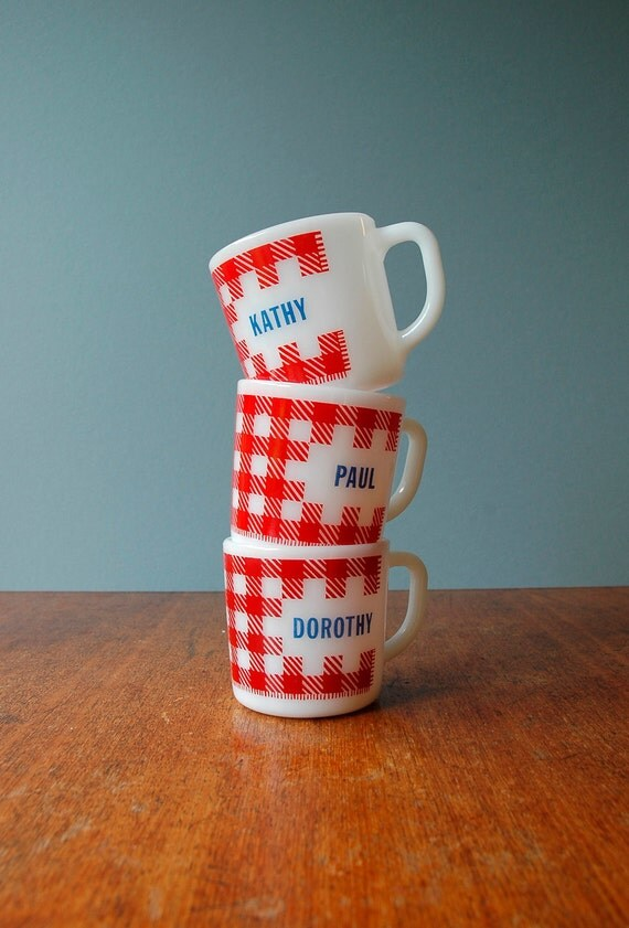 Westfield Plaid Milkglass Name Mugs Kathy Reserved