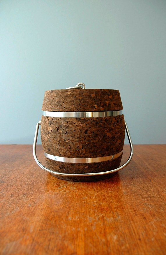 Mid Century Cork and Chrome Ice Bucket
