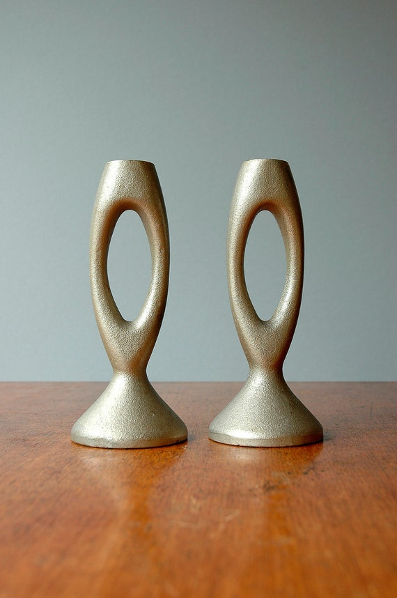 Mid Century Modern Cast Aluminum Candle Holders By Luola