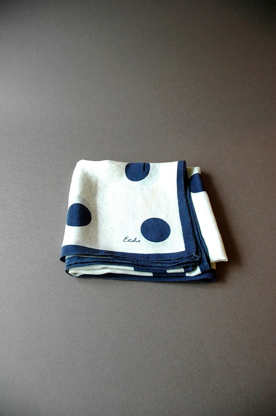 Mid Century Silk Echo Scarf - Navy Dots on White