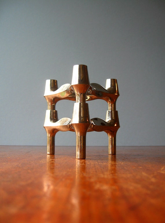 Vintage Atomic Nagel Style BMF Candle Holders - Pair