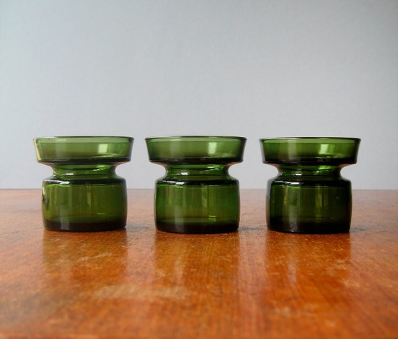 Three Dansk Forest Green Glass Candle Holders