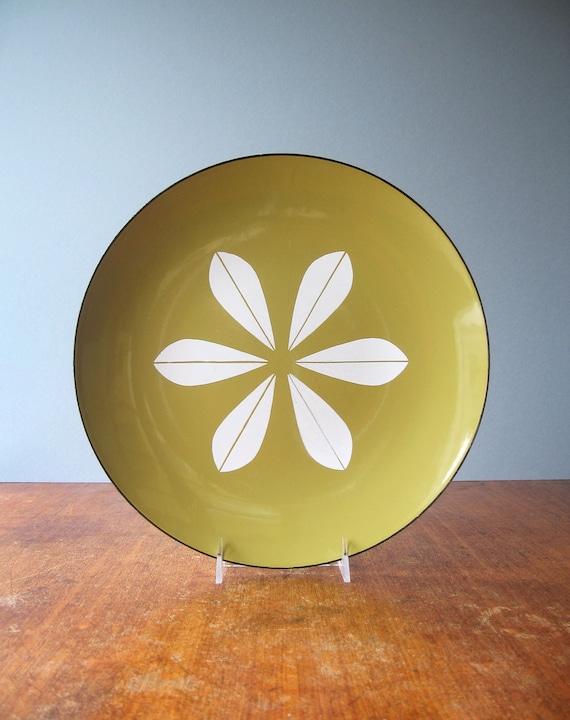 Large Mid Century Cathrineholm Lotus Platter - Mustard / White