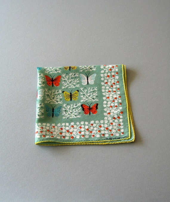Mid Century Illustrated Handkerchief - Betty Anderson Butterflies - RESERVED
