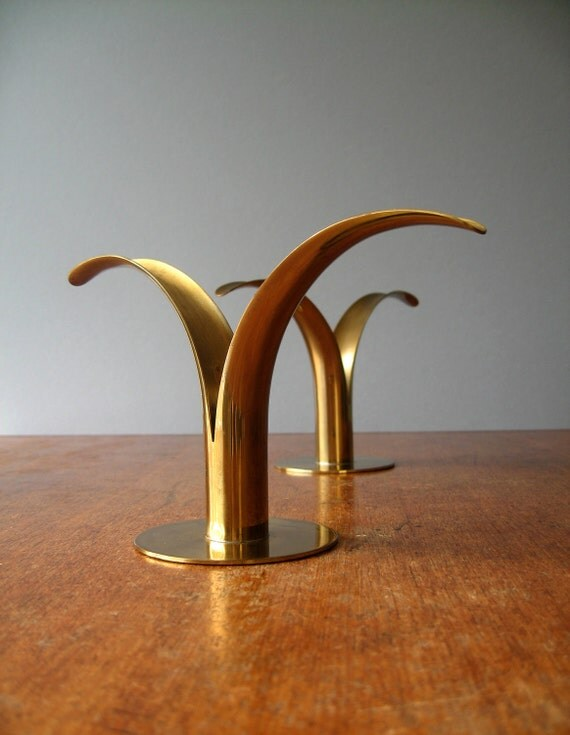 Mid Century Brass Swedish Lilly Candle Holders