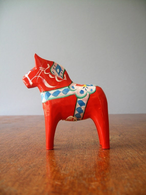 Vintage Swedish Dala Horse - Red / Orange - RESERVED