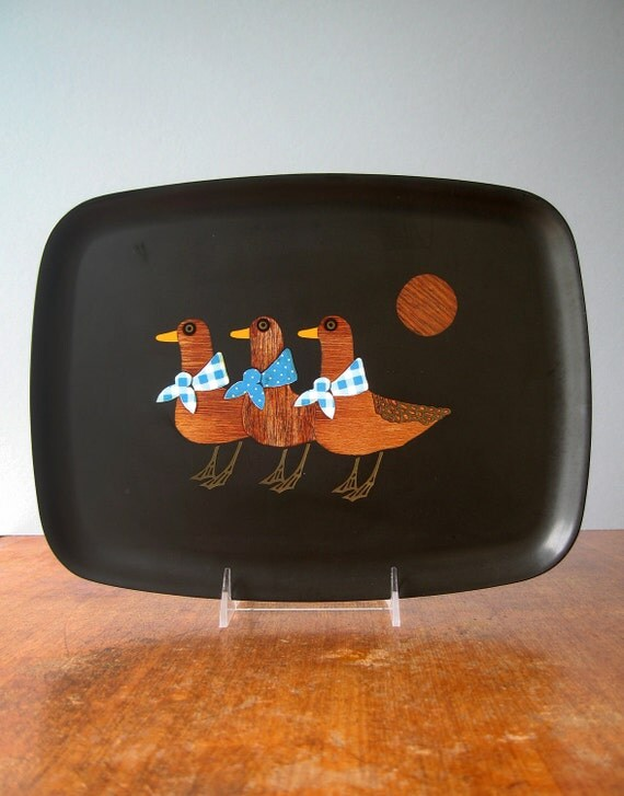 Vintage Couroc Inlaid Tray - Mod Ducks - RESERVED