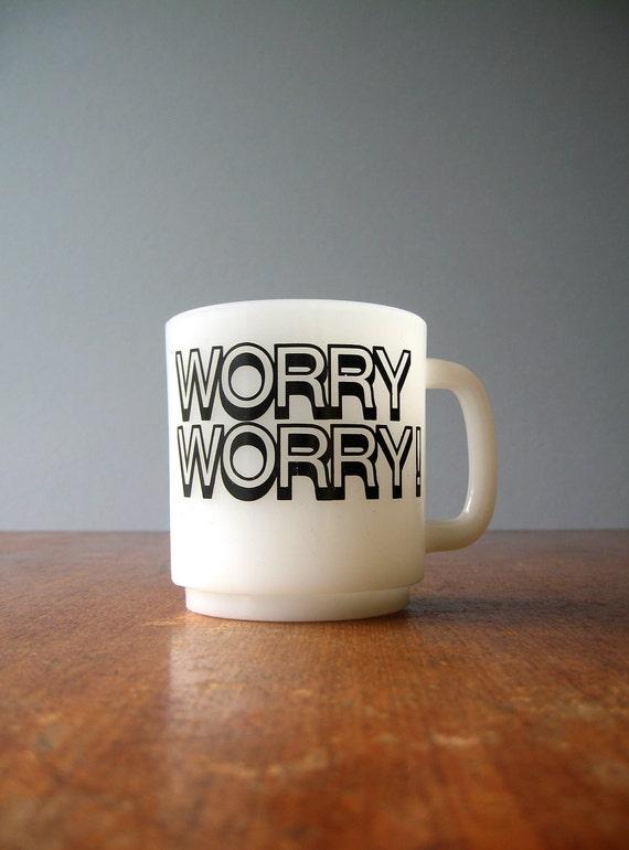 Retro Milk Glass Worry Worry Mug - RESERVED