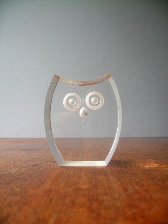 Vintage Mod Lucite Owl Figurine