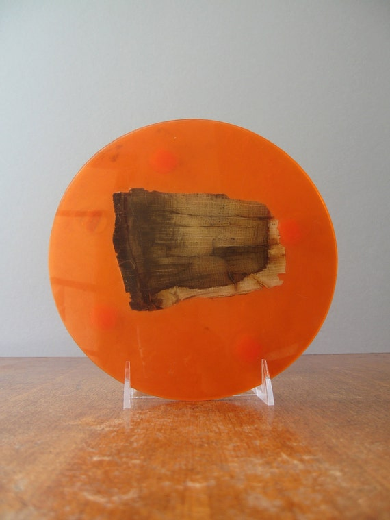 Retro Orange Resin Trivet with Petrified Wood - RESERVED