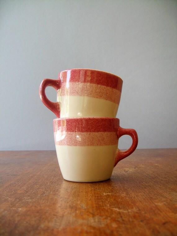 Vintage Shenango Mugs - Pink Stripes