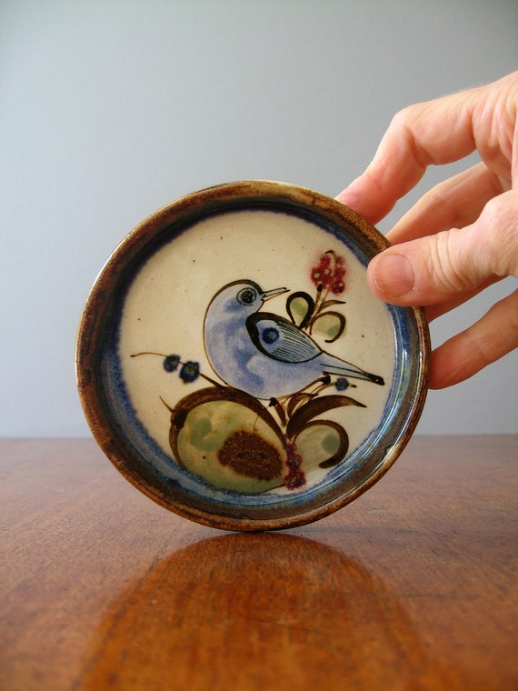 Pair of Vintage Ken Edwards Dishes / Coasters - Butterfly and Bird