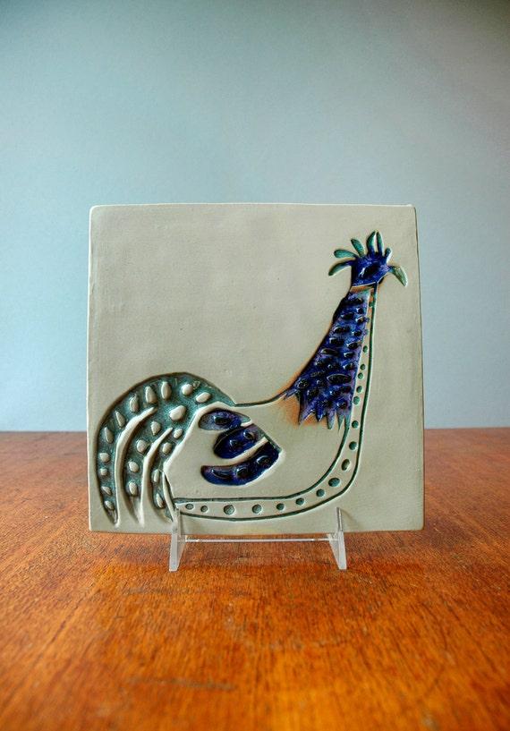 Vintage Modernist Bennington Potters Plaque / Trivet / Tile