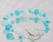Blue Pearl, Crystal and Glass Beaded Bracelet