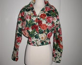 RESERVED Vintage Ungaro Solo Donna Paris Quilted Wool Rose Floral Print Cropped Jacket Coat