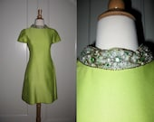 Vintage 1970s Claire Pearone Detroit Chartreuse Shift Dress with Embellished Neck - FioreAtelier
