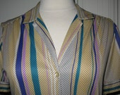 CLEARANCE Vintage 1970s 1980s Vera Button Front Short Sleeve Stripes and Dots Blouse