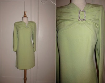 Vintage Carolina Herrera 1980s Light Green Dress with Large Rhinestone Pin