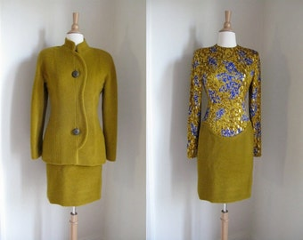 Vintage 1980s Galanos Abstract Print Silk with Gold Metallic and Wool Dress and Jacket Suit Set