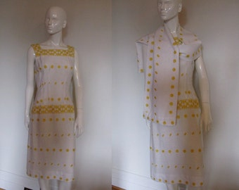 SALE SALE Vintage 1950s Jack Squire White with Sunny Yellow Embroidery Sleeveless Sheath Wiggle Dress with Matching Scarf Shawl Wrap