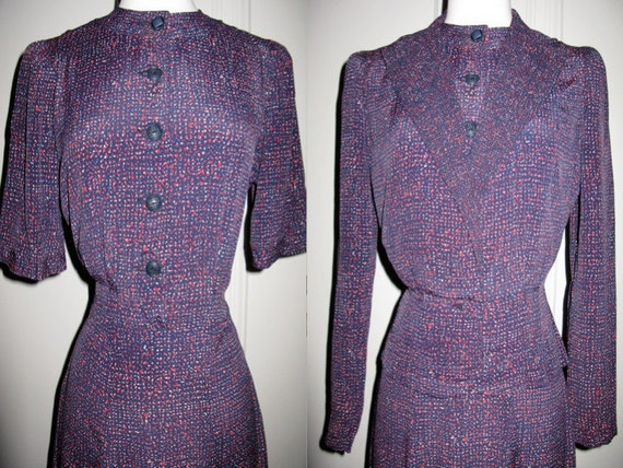 CLEARANCE Wonderful Vintage Rayon Dress Set 1940s Fitted Red White and Blue Dress with Matching Jacket S/M