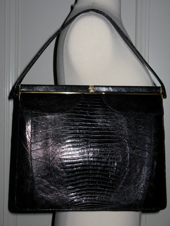 Vintage 1950s Large Black Lizard Skin Sterling Brand Purse Handbag Tote Great Condition