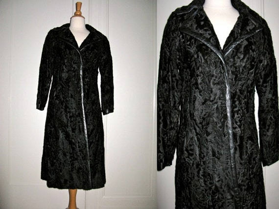 CLEARANCE Vintage 1950s 1960s Black Persian Broadtail Lamb Fur with Leather Trim Coat