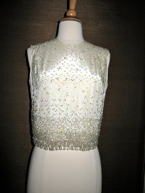 SALE SALE Vintage 1950s 1960s Sequin Bead Sleeveless Top Hand Decorated Crown Rose Originals XS/S Incredibly Beautiful
