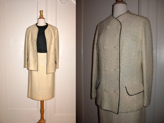 RESERVED SALE SALE Vintage 1960s 3 Piece Ivory Winter White Boucle Suit with Charcoal Top and Trim Meier and Frank Made in England