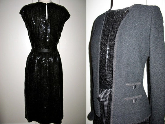 Vintage 1960s Adolfo at Saks Fifth Avenue 3 Piece Set Black Sequin Skirt and Top and Wool Boucle Coat