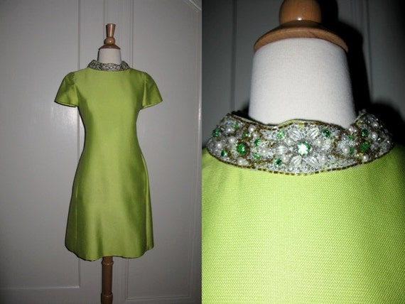 Vintage 1970s Claire Pearone Detroit Chartreuse Shift Dress with Embellished Neck