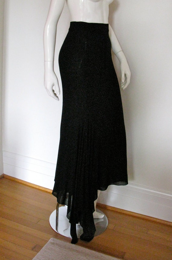 Vintage 1980s 1990s Authentic Chanel Boutique Slinky Maxi Skirt Black Wool Crepe with Asymmetrical Hem Never Worn Store Tag Still Attached