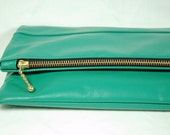 Large Emerald Green Leather Bag.  Foldover Clutch.