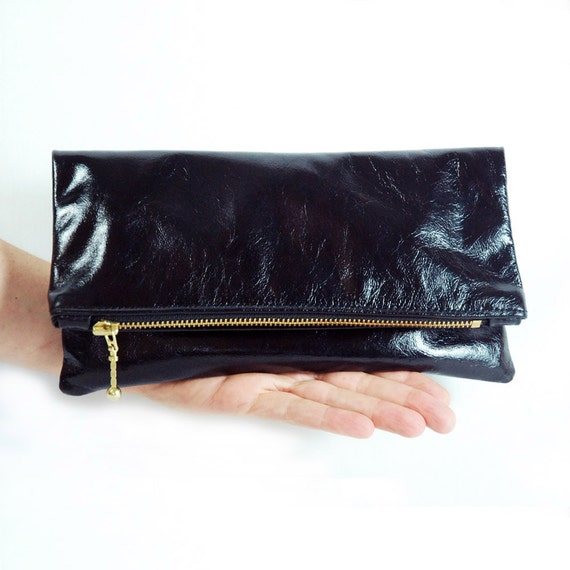 Small Black Leather Clutch.  Foldover Bag.