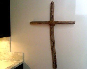 Driftwood Cross with Rope center-SOLD a similiar one can be custom made