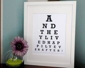 ETSY - And they lived happily ever after  - Eye Chart Print ( Personalized Message )