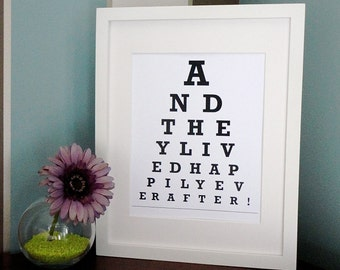 ETSY - And they lived happily ever after  - Eye Chart Print