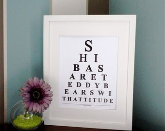 ETSY - Shibas are teddy bears with attitude  - Eye Chart Print
