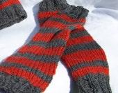 Halloween Clearance Sale - Wool LEGGINGS Orange - Grey Stripped
