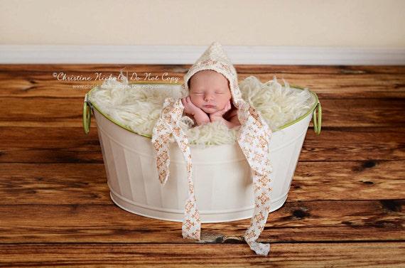 Newborn Fabric Ribbon Pixie Bonnet- Custom Order