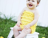 Petti Romper - Yellow and lace flower headband or clip