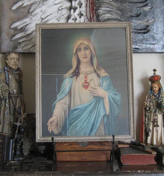 Vintage Sacred Heart Mary Framed Print